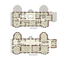 Traditional country house architecture plan drawing